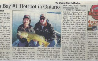 "Quinte Sports Review's Article ""Picton Bay #1 Hotspot in Ontario"