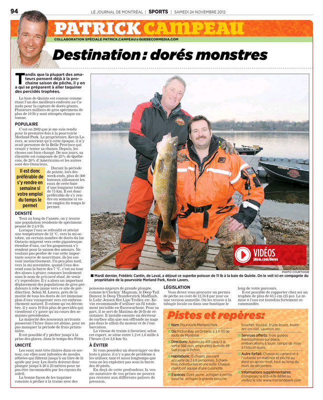 Merland Park featured in the Journal de Montreal